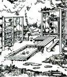 Традиционные атрибуты детских площадок - домик, спортивный  комплекс