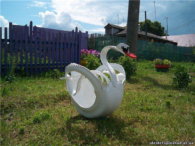 Лебеди из покрышек - фотоподборка